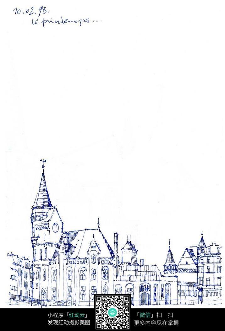 欧洲街头建筑设计稿