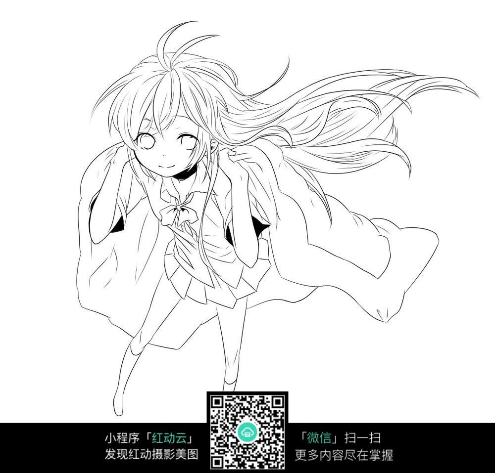 少女卡通手绘线稿图片_人物卡通图片