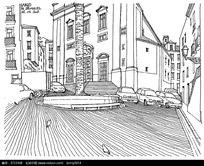 国外黑白街景插画图片图片