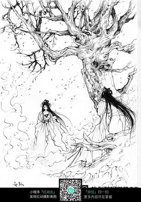 树下的美女卡通手绘线稿