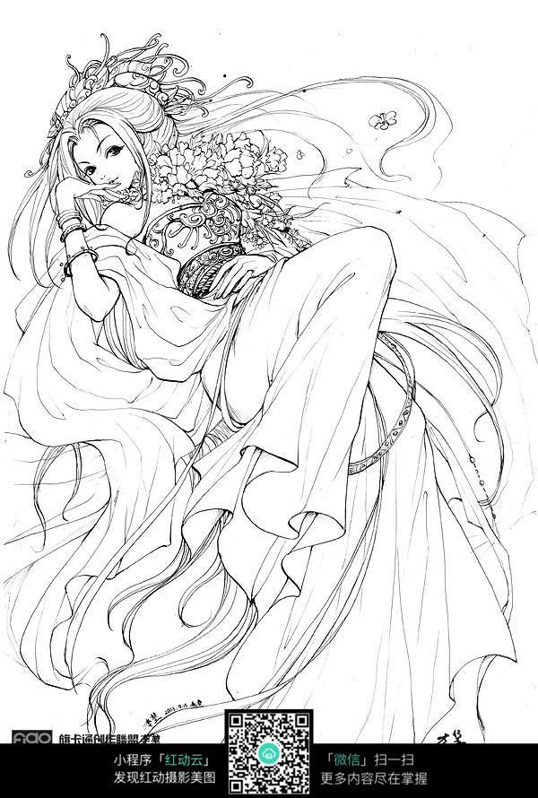 免费素材 图片素材 漫画插画 人物卡通 躺着的美女卡通手绘线稿