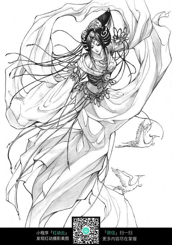 跳舞的美女卡通手绘线稿