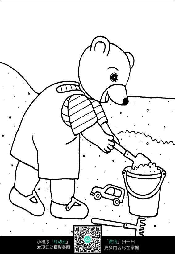 小熊卡通手绘线稿