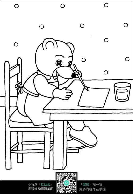 写字的小熊卡通手绘线稿