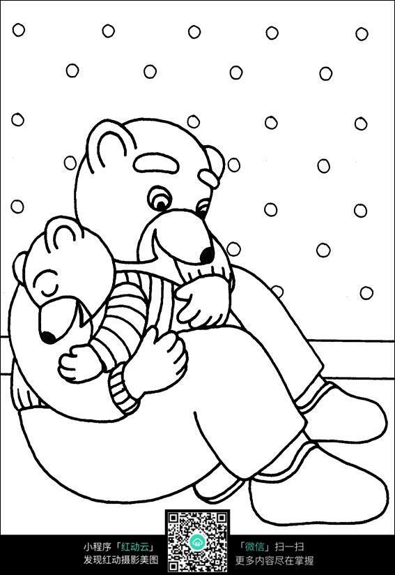 熊妈妈和小熊卡通手绘线稿