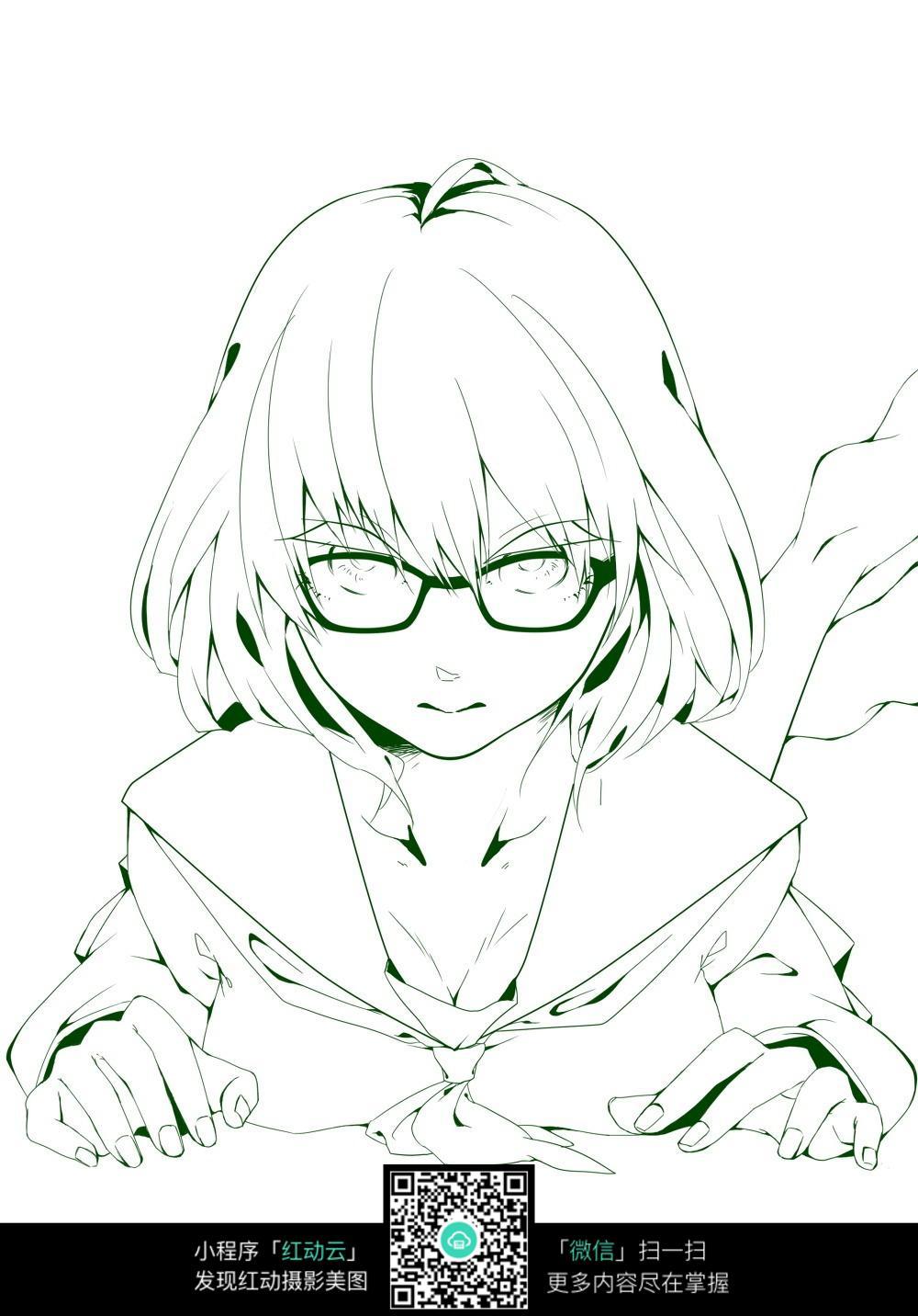 眼镜女孩卡通手绘线稿
