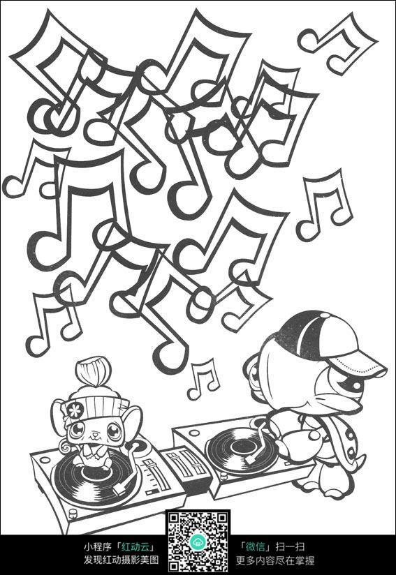 音符和动物卡通手绘线稿