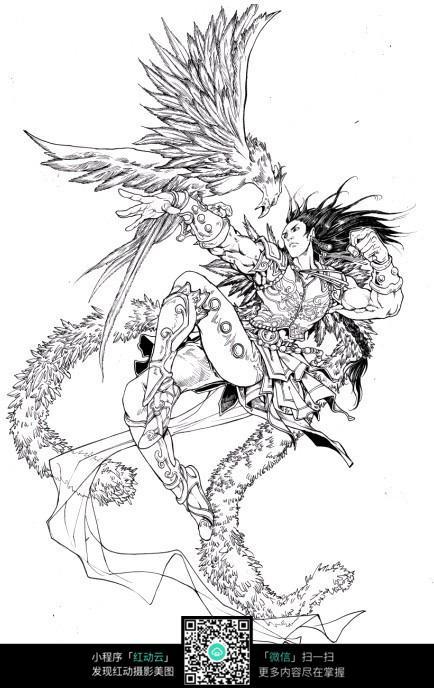 鹰和少年卡通手绘线稿
