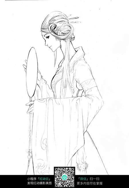 照镜子的美女卡通手绘线稿