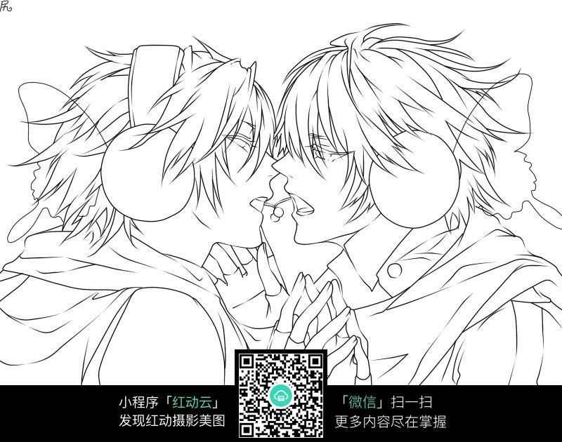 手绘情侣接吻唯美