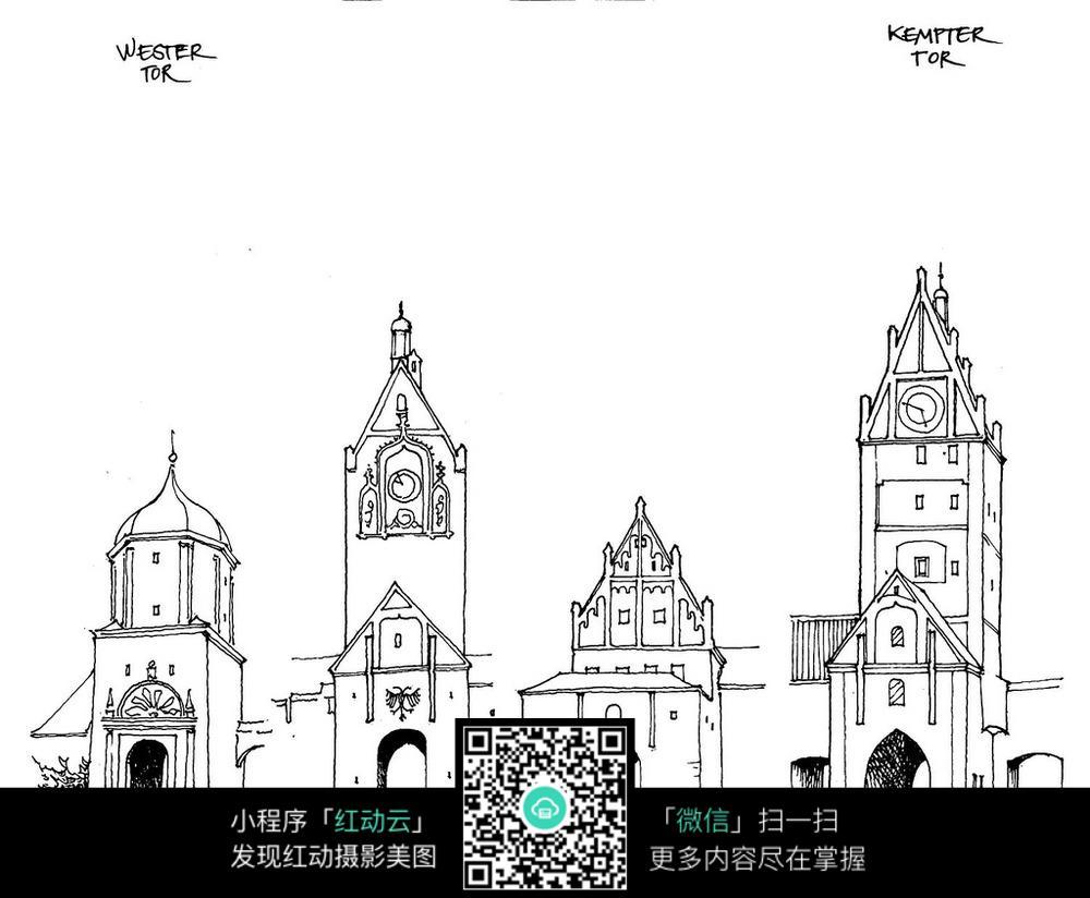 中东城堡手绘_建筑设计图片