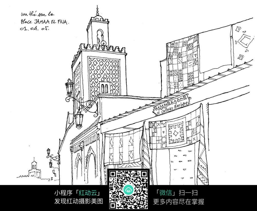 中东街景手绘图片