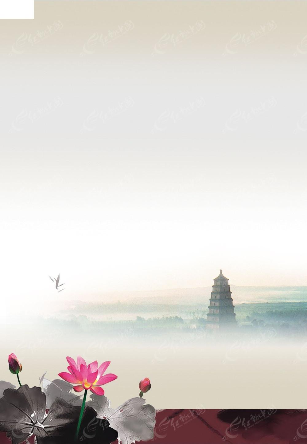 风_中国风淡雅水墨海报模板
