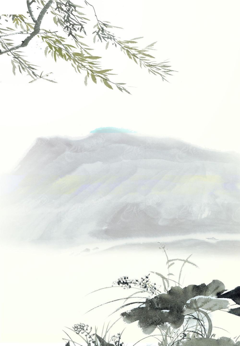 风_中国风水墨海报背景模板
