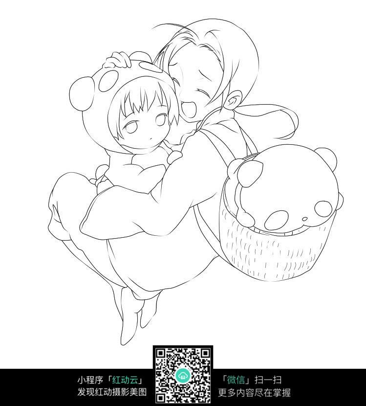 抱小孩的女子卡通手绘线稿