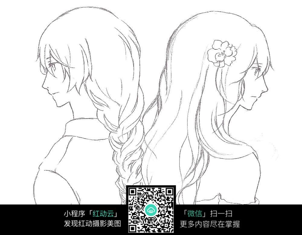 免费素材 图片素材 漫画插画 人物卡通 背靠背的少女卡通手绘线稿  请