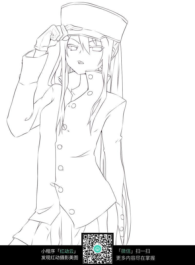 戴帽子的少女卡通手绘线稿