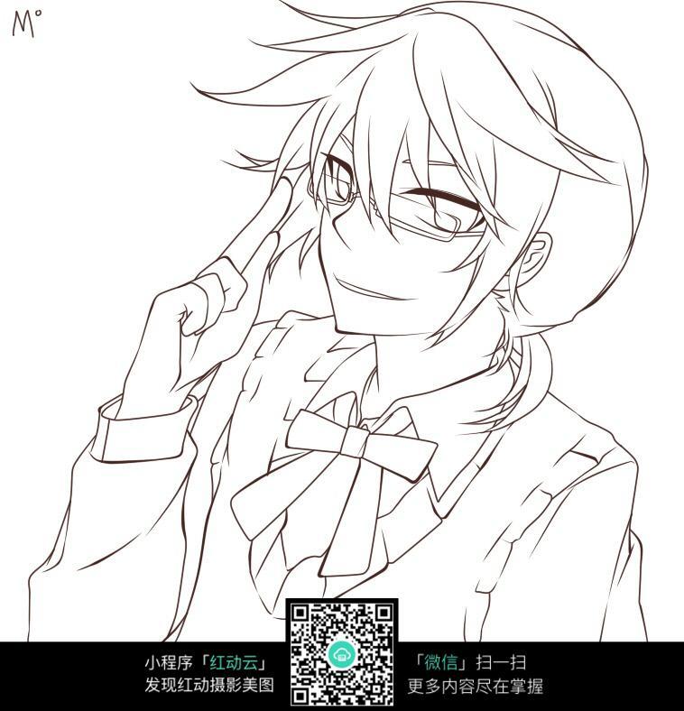 戴眼镜的男孩卡通手绘线稿