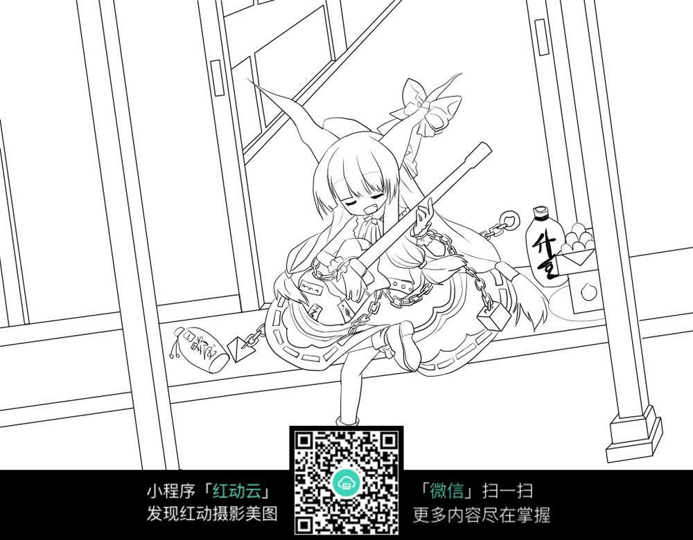 弹琴的女孩卡通手绘线稿