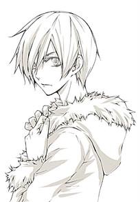 冬天男孩服装线描