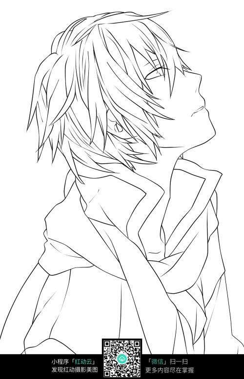 短发男孩卡通手绘线稿图片