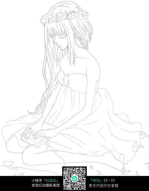 跪坐的少女卡通手绘线稿