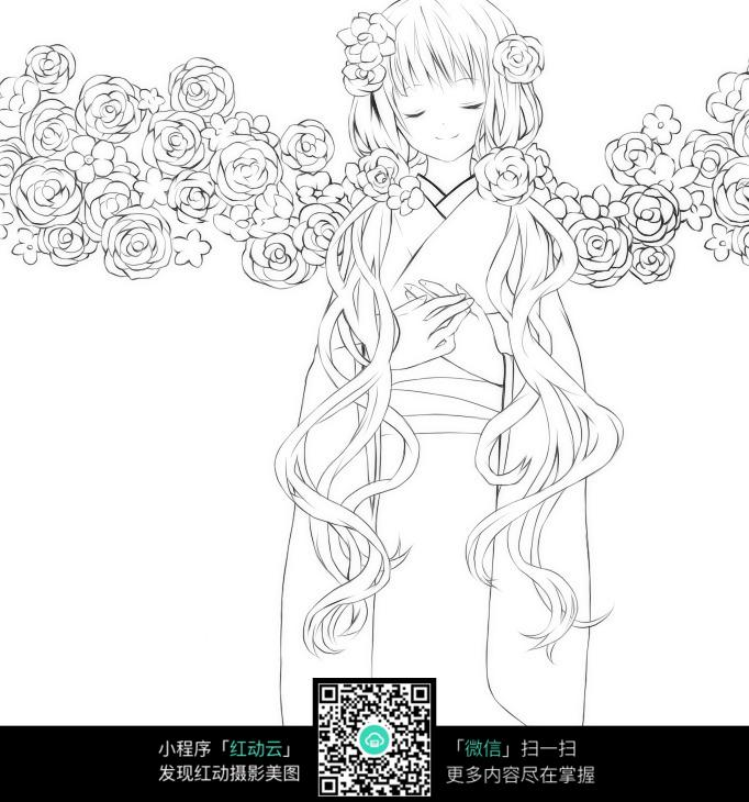 免费素材 图片素材 漫画插画 人物卡通 花朵和少女卡通手绘线稿
