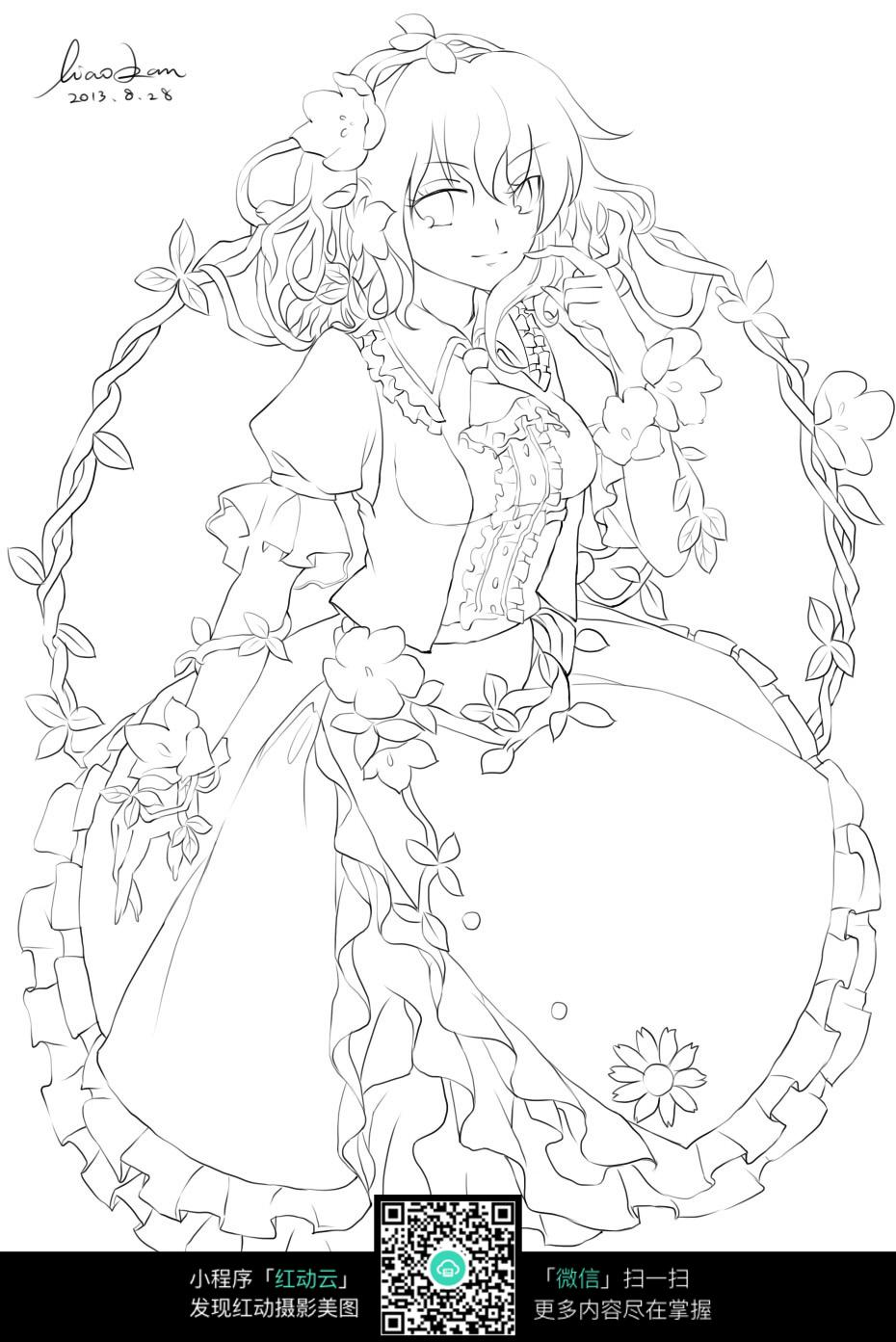 花环和女孩卡通手绘线稿
