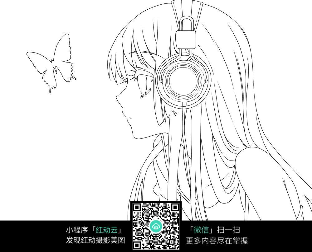蝴蝶和少女卡通手绘线稿