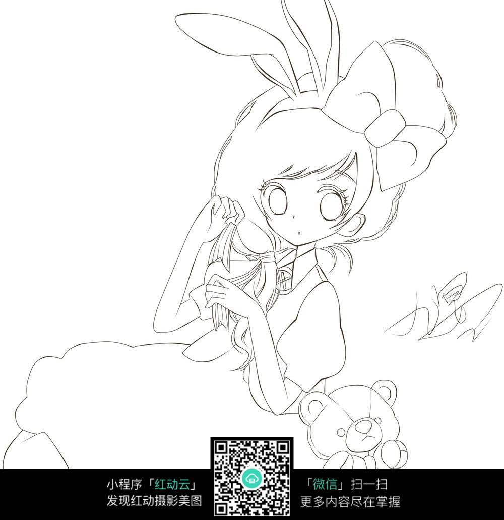 免费素材图片漫画漫画卡通素材人物蝴蝶结女孩插画手绘线稿请您卡通一人图片