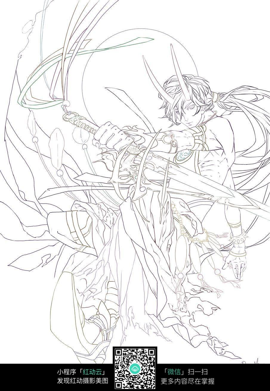 剑和女子卡通手绘线稿图片