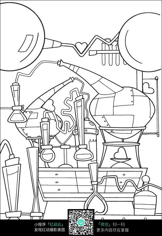 机械卡通手绘线描图片