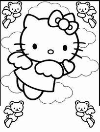 kitty猫 粉蓝色底 无水印图片