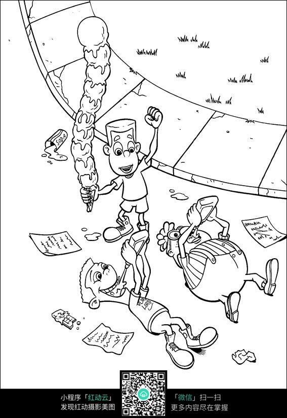 看书吃东西的小孩卡通手绘线描图片