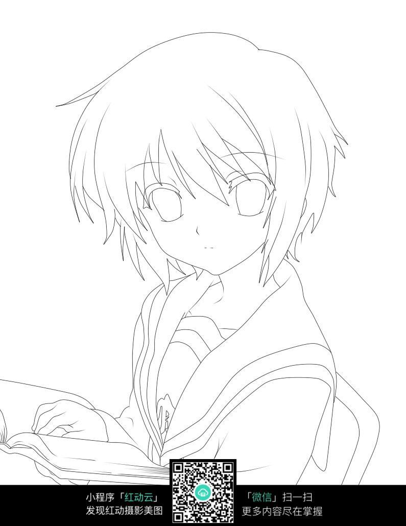 看书的女孩卡通手绘线稿_人物卡通图片_红动手机版