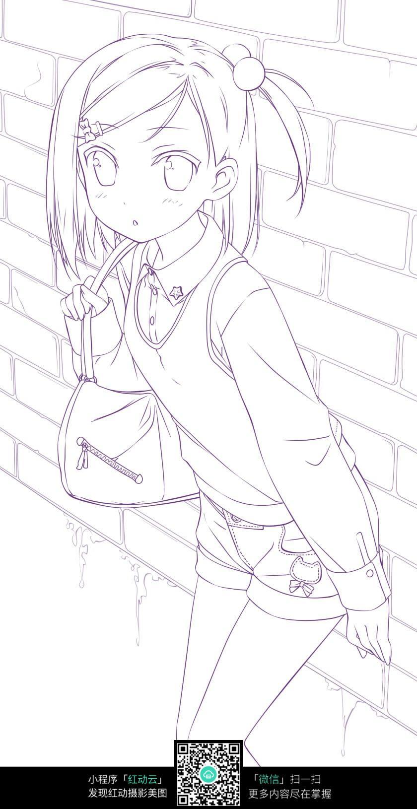 背靠背的女孩卡通手绘线稿