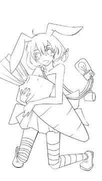 抱萝卜的美少女黑白简笔画图片素材-学士服卡通简笔画 简笔画图片