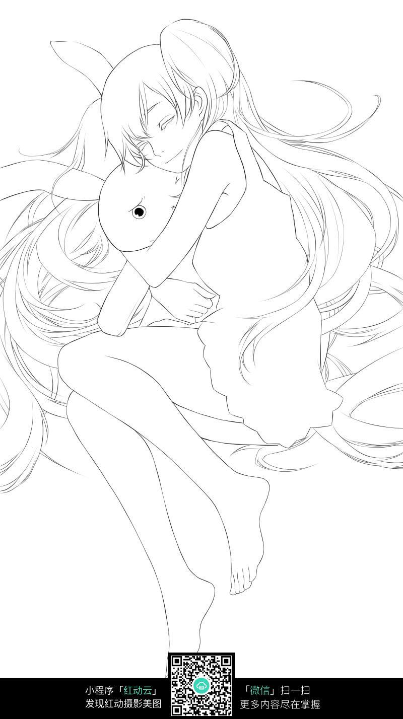 卡通抱熊的美少女线描图片素材
