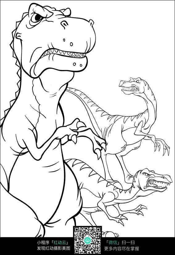卡通霸王龙凶恶表情线描图片免费下载