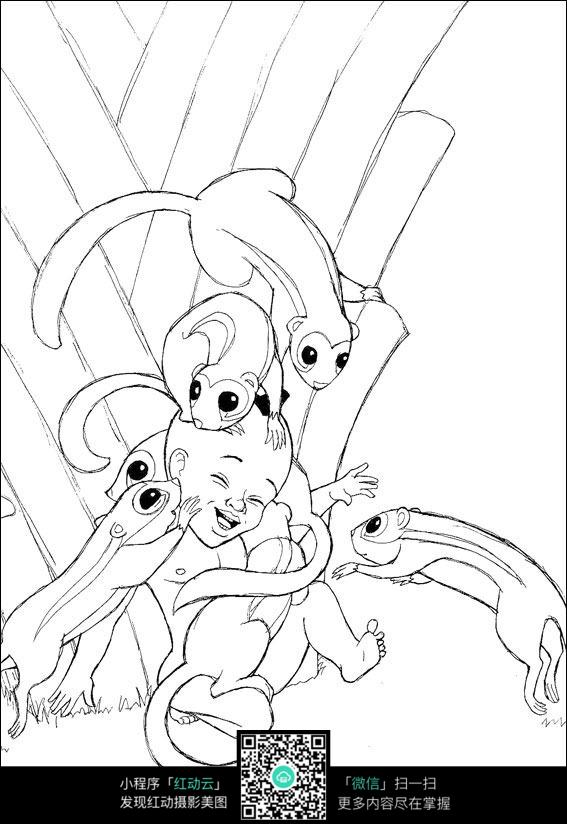 卡通被老鼠亲吻的小孩手绘线描图片
