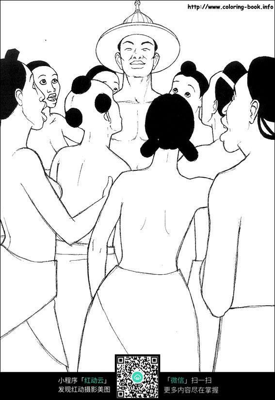 线描图形 手绘图形 线描画 背景画 图形图标 图形图案  卡通人物 漫画