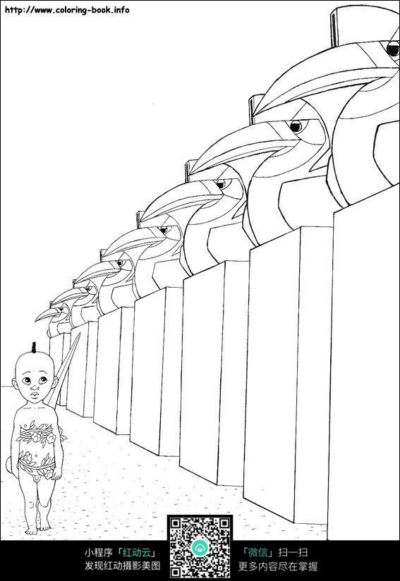 卡通背着剑的小孩手绘线描图片