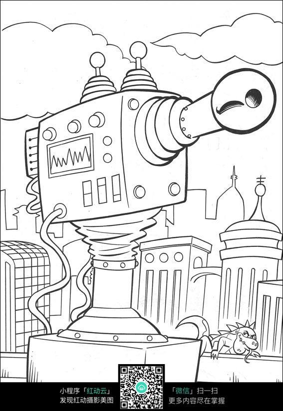 卡通城市大炮手绘线描图片
