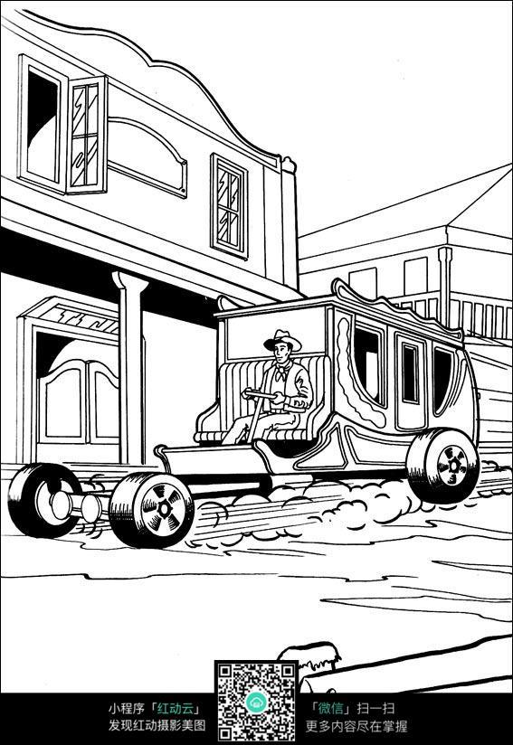 卡通城市压路车手绘线描图片
