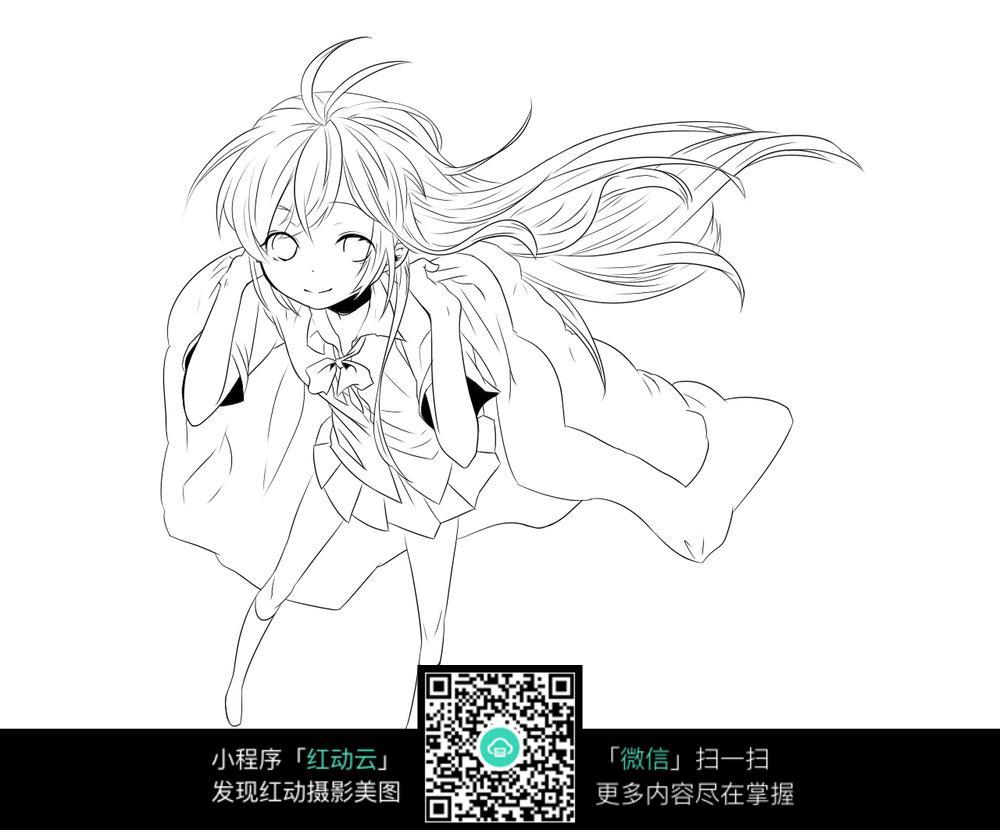 卡通穿披衣的长发美少女黑白简笔画图片素材