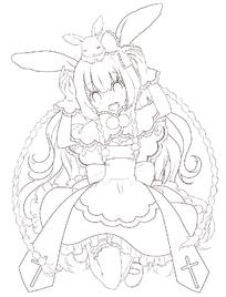 卡通带兔耳穿裙子的美少女黑白简笔画图片素材