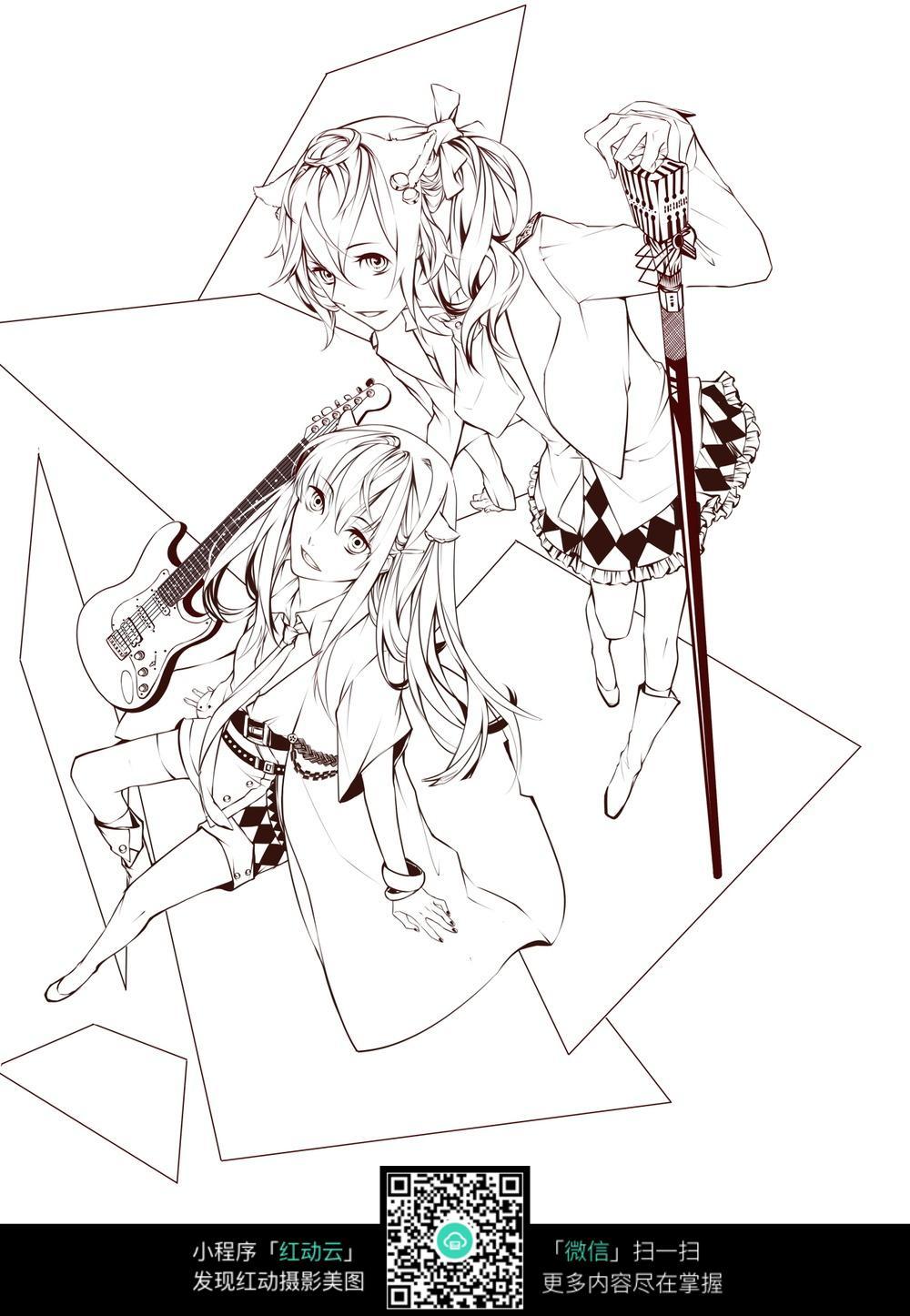 卡通弹吉他唱歌的美少女黑白简笔画图片素材