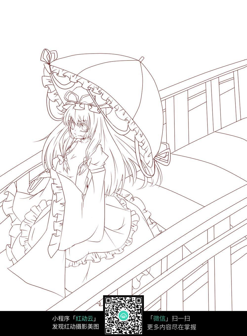 卡通打伞的长裙美少女线描图片素材