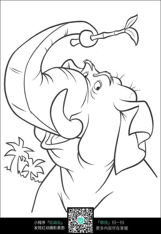 卡通大象手绘线描图片