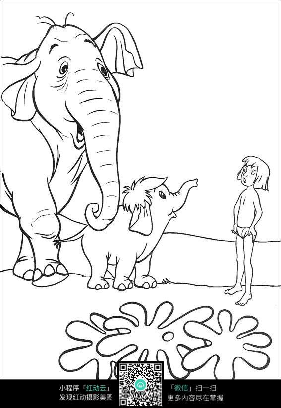 卡通大象小孩手绘线描图片
